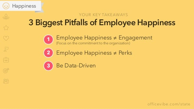 officevibe.com/state 3 Biggest Pitfalls of Employee Happiness Be Data-Driven3 2 Employee Happiness ≠ Perks YOUR KEY TAKEAW...