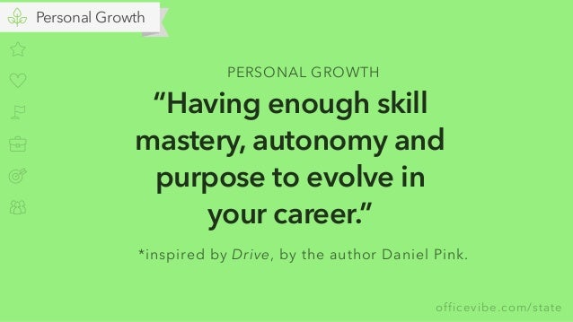 """officevibe.com/state Personal Growth """"Having enough skill mastery, autonomy and purpose to evolve in your career."""" PERSONA..."""