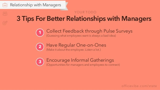 officevibe.com/state Relationship with Managers 3 Tips For Better Relationships with Managers Encourage Informal Gathering...