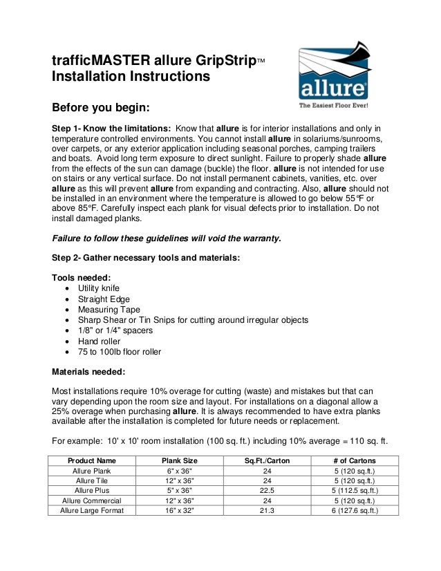 How To Install Allure Gripstrip Flooring Official Installation Inst