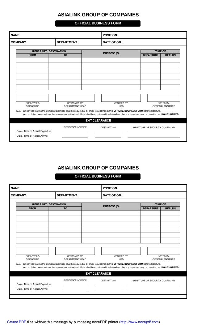 Official BusinessForm