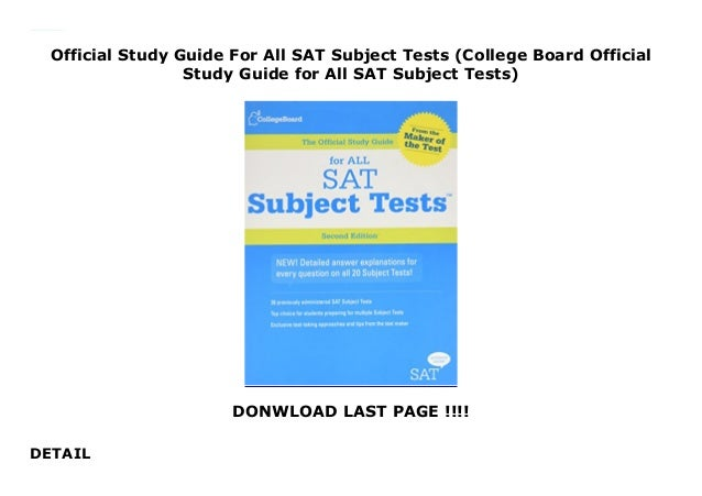 Official Study Guide For All SAT Subject Tests (College