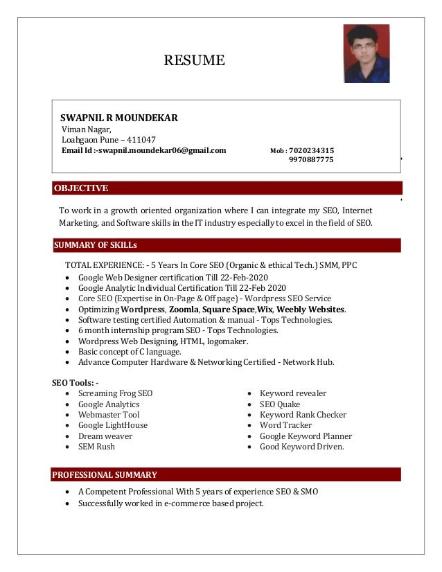 RESUME SWAPNIL R MOUNDEKAR Viman Nagar, Loahgaon Pune – 411047 Email Id :-swapnil.moundekar06@gmail.com Mob : 7020234315 9...