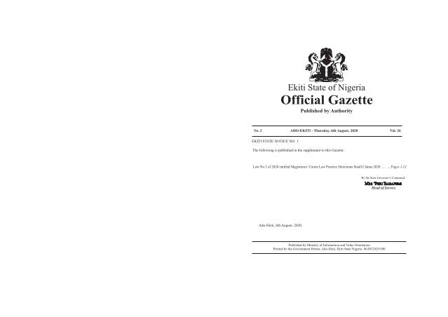 AP EEAC NHI DT RF PAD ON SA PERY IT TIN YU EK. S. No. 2 of 2020 A -1 Supplement of Ekiti State of Nigeria Official Gazette...