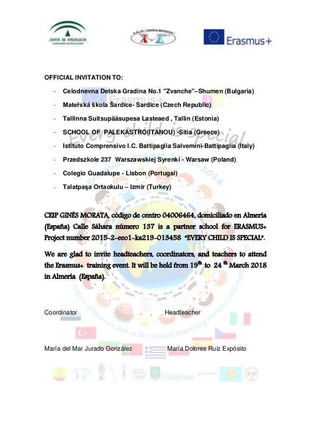 "OFFICIAL INVITATION TO: - Celodnevna Detska Gradina No.1 ""Zvanche""–Shumen (Bulgaria) - Mateřská škola Šardice- Sardice (Cz..."
