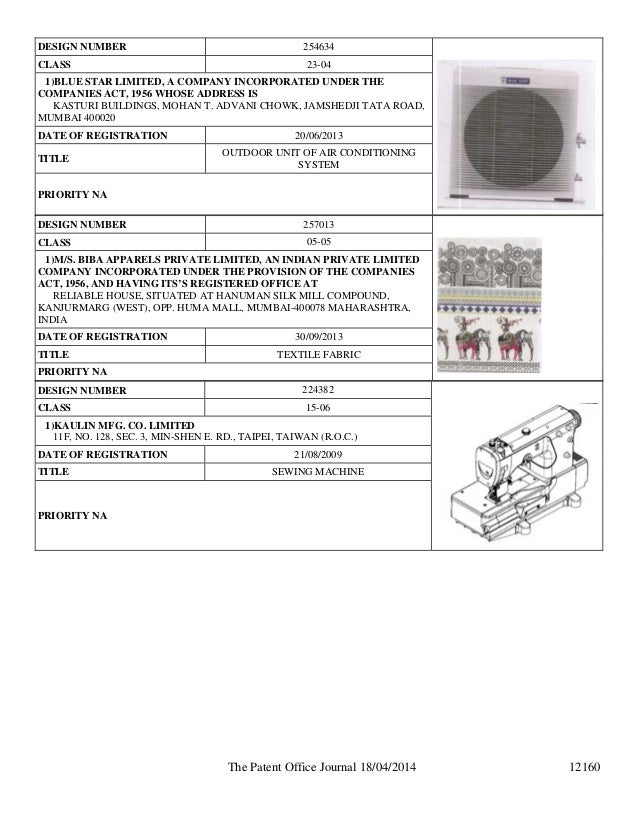 Design patent registration in india patent office in for Office design journal