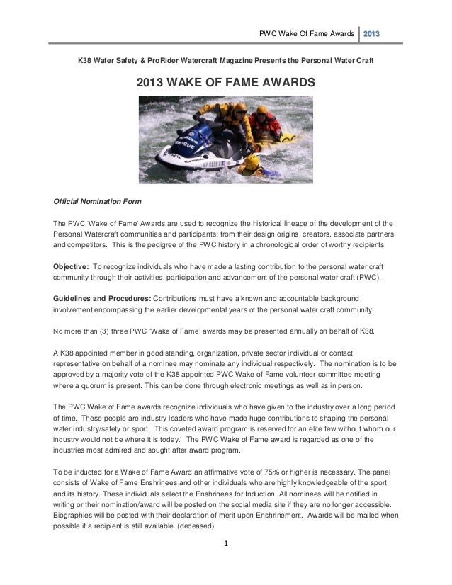PWC Wake Of Fame Awards          2013       K38 Water Safety & ProRider Watercraft Magazine Presents the Personal Water Cr...