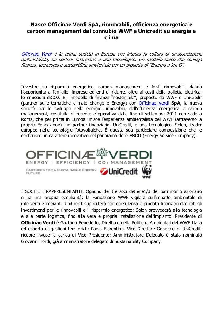 Nasce Officinae Verdi SpA, rinnovabili, efficienza energetica e   carbon management dal connubio WWF e Unicredit su energi...