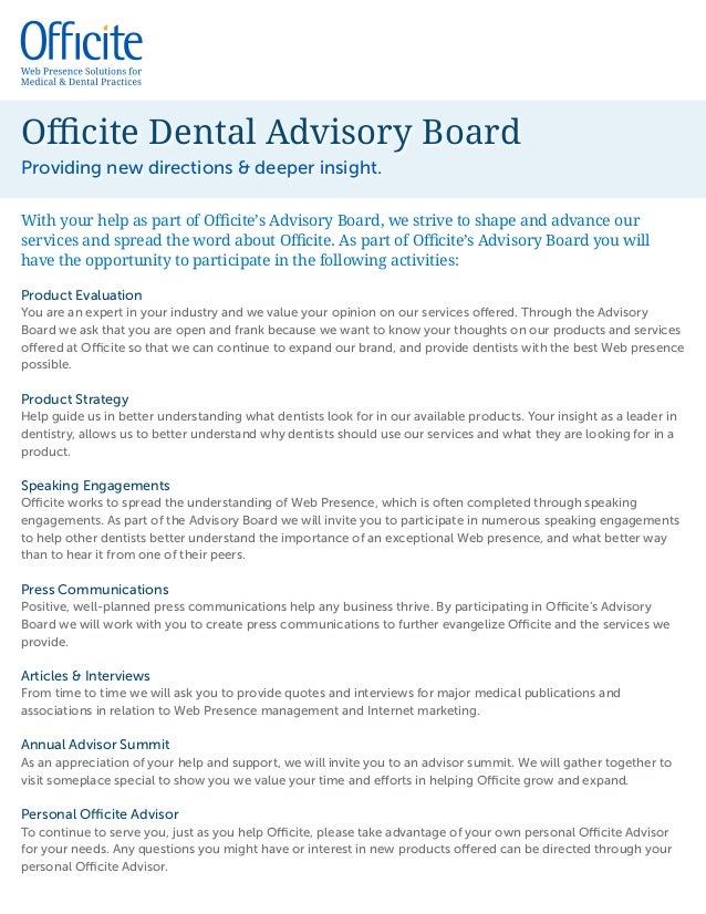 officite advisory board introduction letter