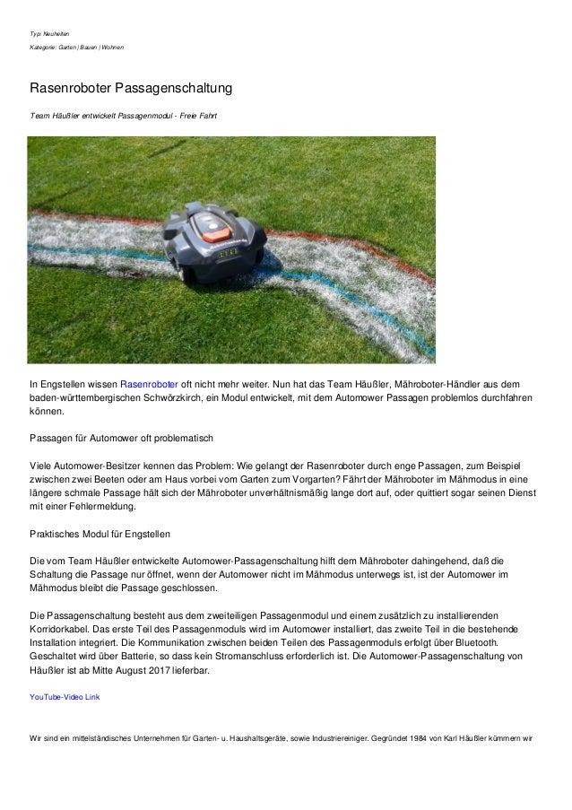 Typ: Neuheiten Kategorie: Garten | Bauen | Wohnen Rasenroboter Passagenschaltung Team Häußler entwickelt Passagenmodul - F...