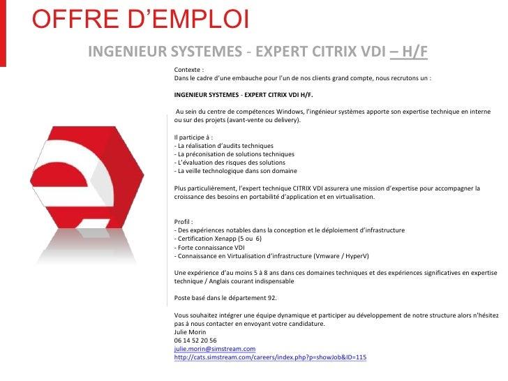 Offre d emploi ingenieur d'application