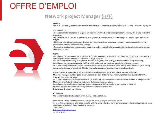 Offre Demploi Network Project Manager
