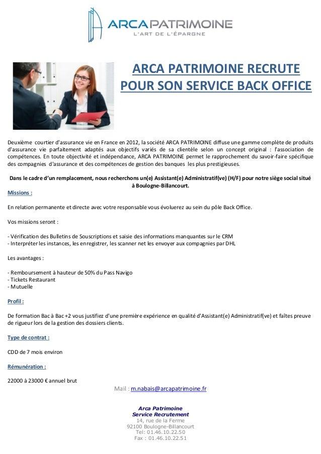 offre d u0026 39 emploi assistant e  administratif ve  arca patrimoine