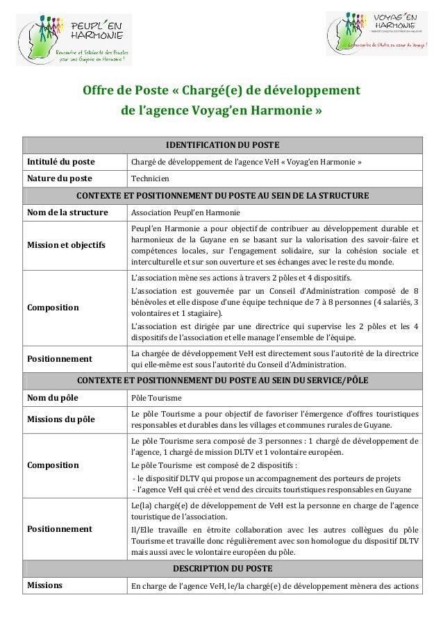 Offre de Poste « Chargé(e) de développement de l'agence Voyag'en Harmonie » IDENTIFICATION DU POSTE Intitulé du poste Char...