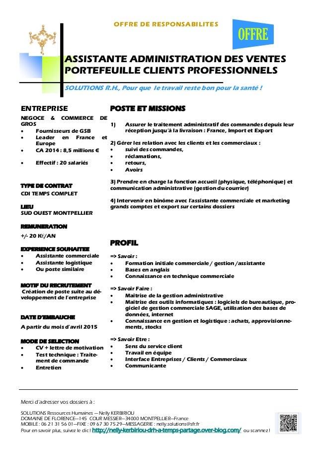 offre ass  administration des ventes portefeuille clients professionn u2026
