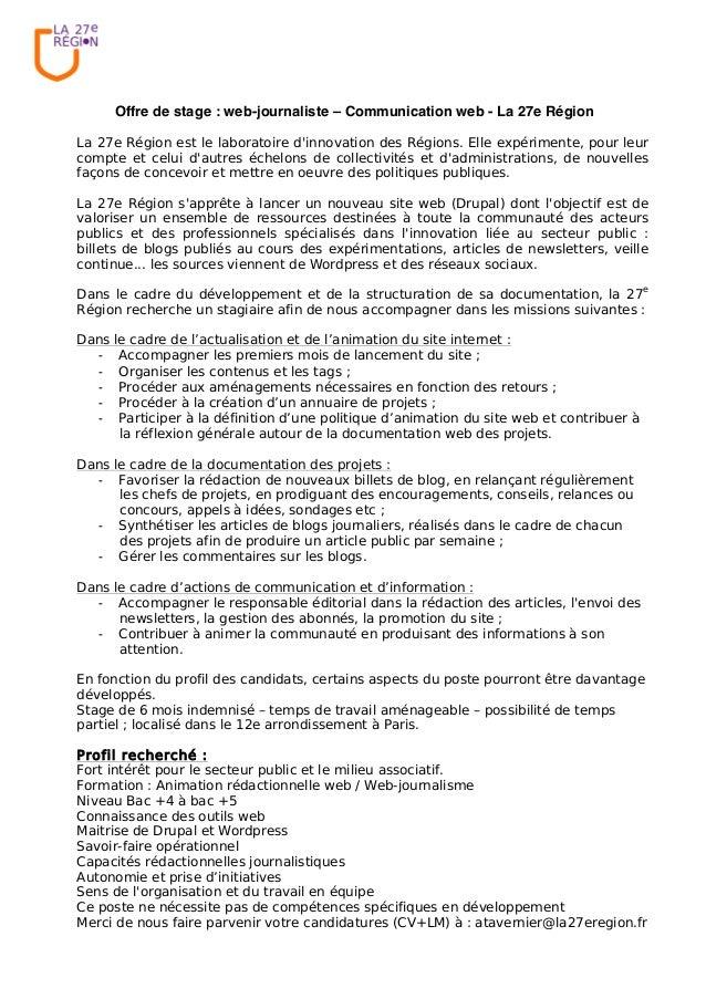 Offre de stage : web-journaliste – Communication web - La 27e Région La 27e Région est le laboratoire d'innovation des Rég...