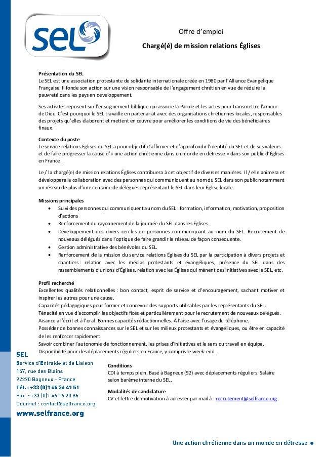 Offre d'emploi Chargé(é) de mission relations Églises Présentation du SEL Le SEL est une association protestante de solida...