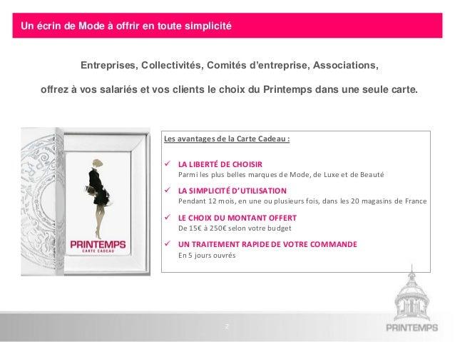 Carte Cadeau Entreprise.Offre Entreprises Carte Cadeau Printemps