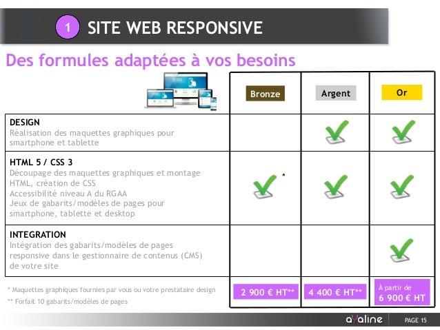 PAGE 15 Des formules adaptées à vos besoins SITE WEB RESPONSIVE1 HTML 5 / CSS 3 Découpage des maquettes graphiques et mont...