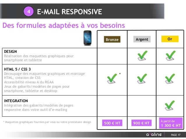 PAGE 17 Des formules adaptées à vos besoins E-MAIL RESPONSIVE4 HTML 5 / CSS 3 Découpage des maquettes graphiques et montag...