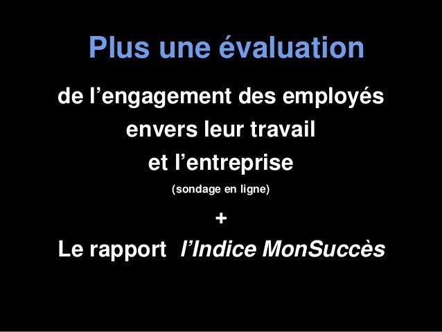 Plus une évaluationde l'engagement des employésenvers leur travailet l'entreprise(sondage en ligne)+Le rapport l'Indice Mo...