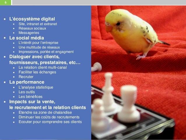 6 ▪ L'écosystème digital ▪ Site, intranet et extranet ▪ Réseaux sociaux ▪ Messageries ▪ Le social média ▪ L'intérêt pour l...