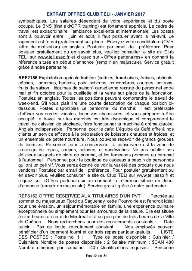 janvier 17   offres partenaires jobs d u0026 39 ete a l u0026 39  u00e9tranger