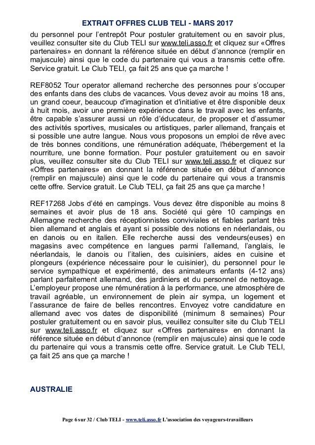 mars 2017   extrait offres du club teli pour partir  u00e0 l