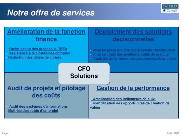 Notre offre de services    Amélioration de la fonction                    Déploiement des solutions             finance   ...