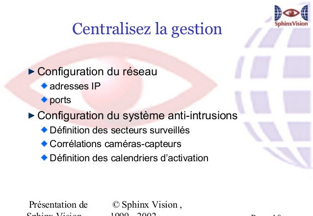 Centralisez la gestion  Configuration du réseau     adresses IP     ports  Configuration du système anti-intrusions     Dé...
