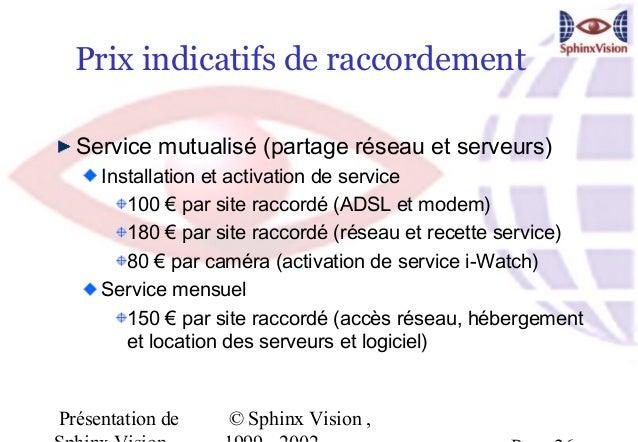 Prix indicatifs de raccordement  Service mutualisé (partage réseau et serveurs)     Installation et activation de service ...