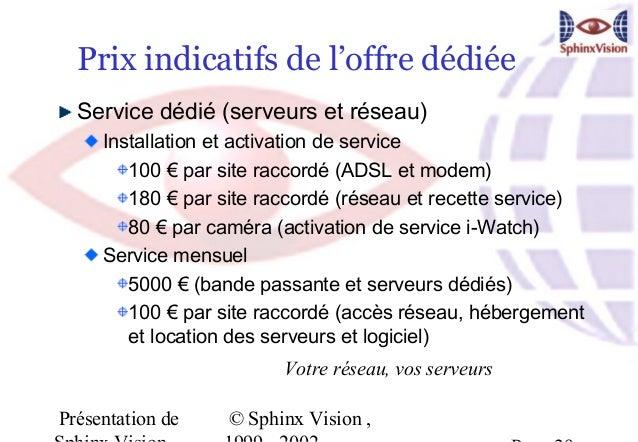 Prix indicatifs de l'offre dédiée  Service dédié (serveurs et réseau)     Installation et activation de service        100...