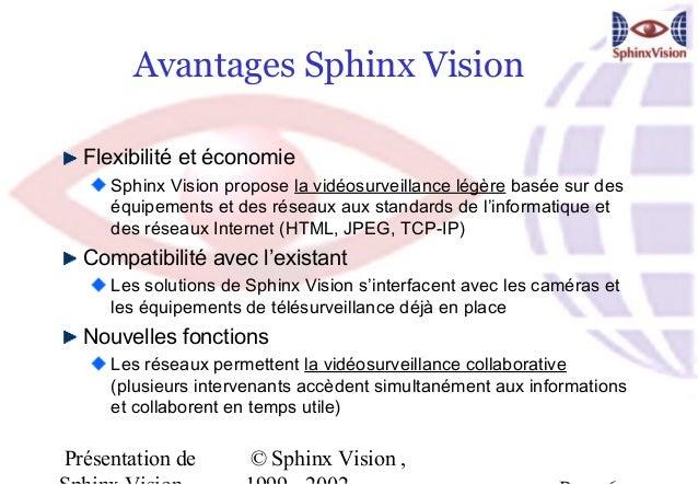 Avantages Sphinx Vision  Flexibilité et économie     Sphinx Vision propose la vidéosurveillance légère basée sur des     é...