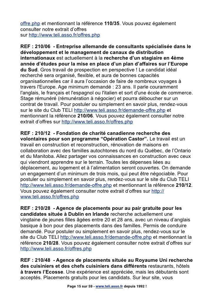 offre.php et mentionnant la référence 110/35. Vous pouvez également consulter notre extrait d'offres sur http://www.teli.a...