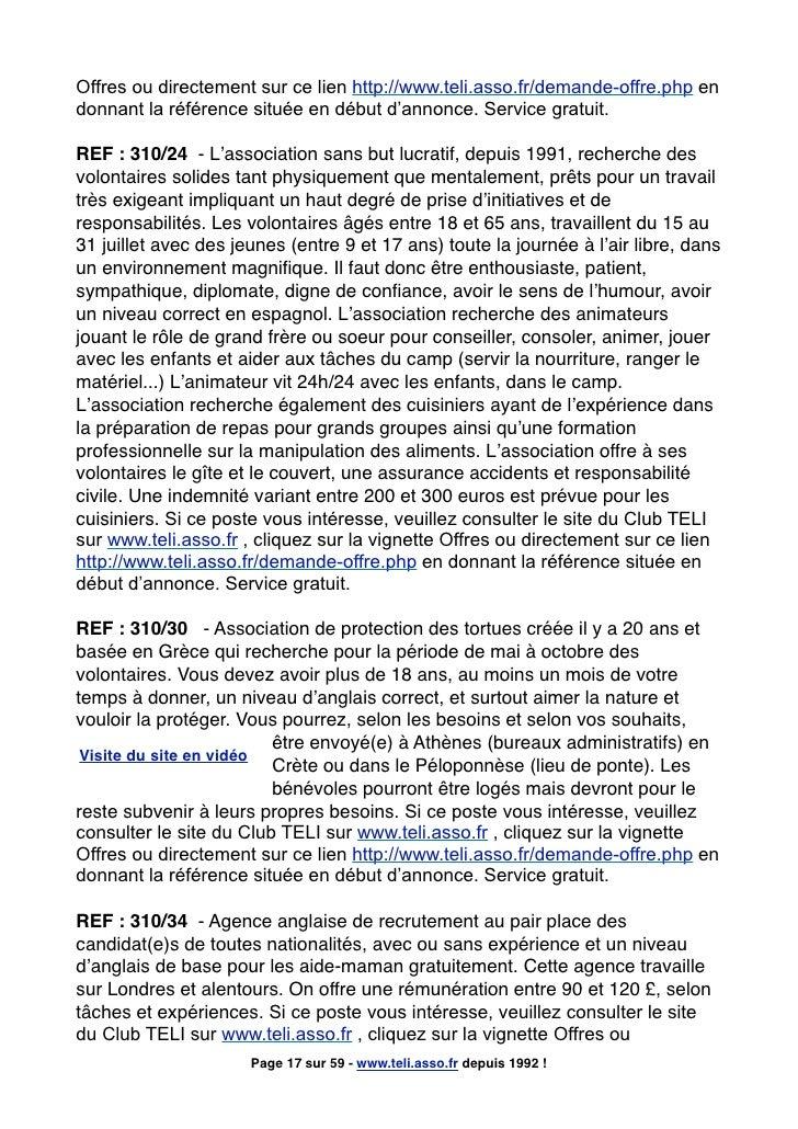 Offres ou directement sur ce lien http://www.teli.asso.fr/demande-offre.php en donnant la référence située en début d'anno...