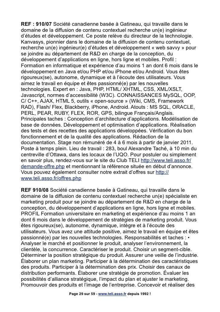 REF : 910/07 Société canadienne basée à Gatineau, qui travaille dans le domaine de la diffusion de contenu contextuel rech...