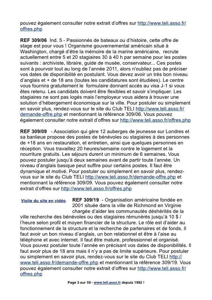 pouvez également consulter notre extrait d'offres sur http://www.teli.asso.fr/ offres.php  REF 309/06 Ind. 5 - Passionnés ...