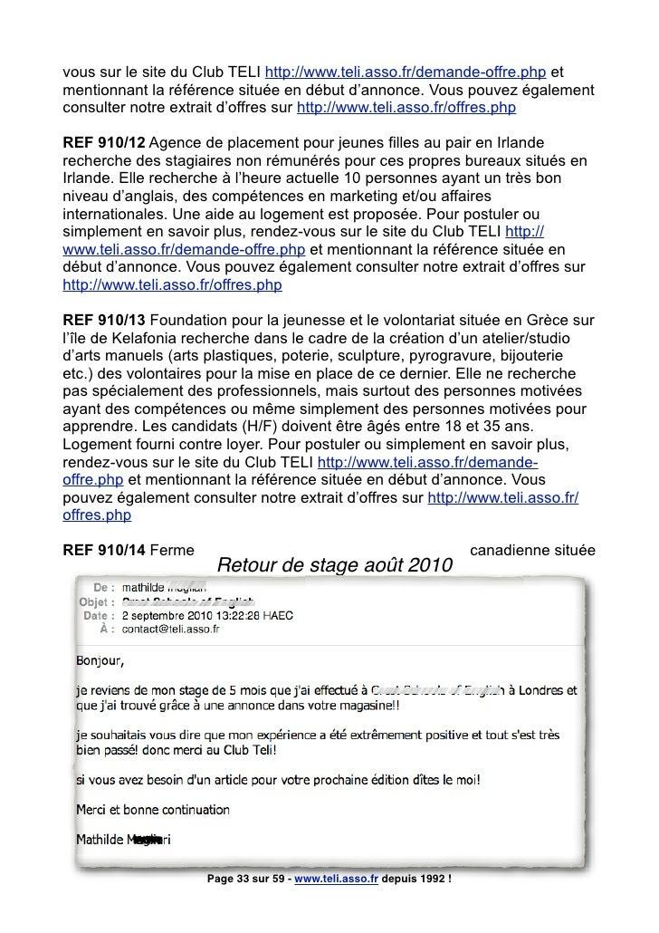 vous sur le site du Club TELI http://www.teli.asso.fr/demande-offre.php et mentionnant la référence située en début d'anno...