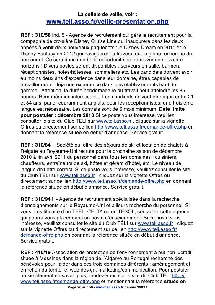 La cellule de veille, voir :             www.teli.asso.fr/veille-presentation.php  REF : 310/58 Ind. 5 - Agence de recrute...
