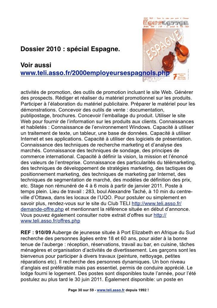 Dossier 2010 : spécial Espagne.  Voir aussi www.teli.asso.fr/2000employeursespagnols.php  activités de promotion, des outi...