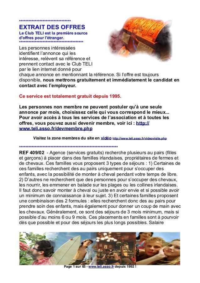 Extrait Des Offres DEmploi Et Stages  Ltranger