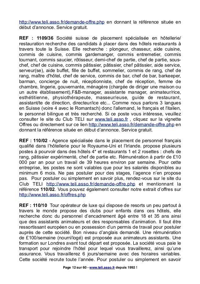 Extrait des offres d 39 emploi et stages l 39 tranger - Commis de cuisine suisse ...