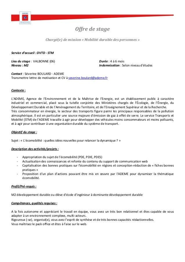 offre de service lettre Offre stage ADEME Service Transports et Mobilité   Sophia Antipolis offre de service lettre