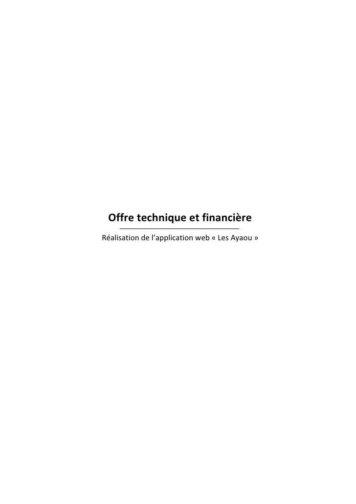 Offre technique et financièreRéalisation de l'application web « Les Ayaou »                                               ...