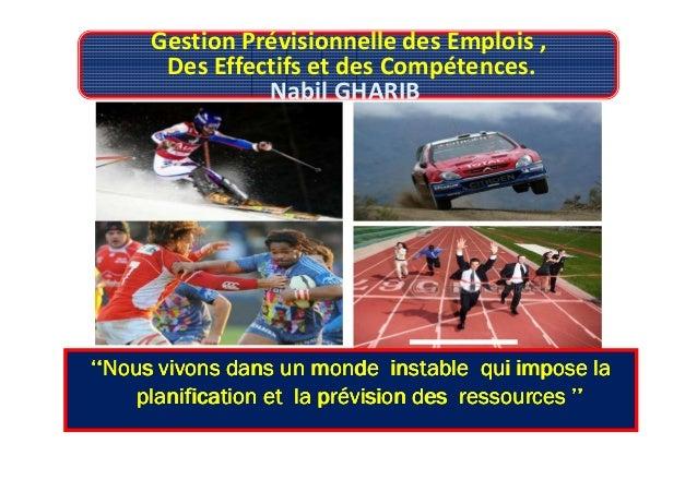 Gestion Prévisionnelle des Emplois , Des Effectifs et des Compétences. Nabil GHARIB ''Nous vivons dans un monde instable''...