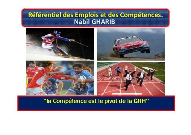 Référentiel des Emplois et des Compétences. Nabil GHARIB ''la Compétence est le pivot de la GRH''''la Compétence est le pi...
