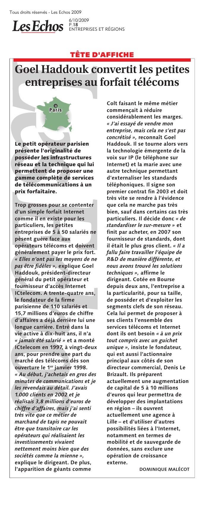 Tous droits réservés  Les Echos 2009                               6/10/2009                               P.18          ...