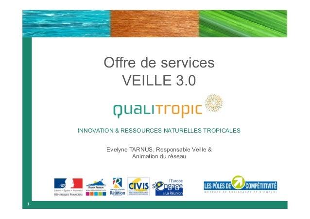 Offre de services VEILLE 3.0  INNOVATION & RESSOURCES NATURELLES TROPICALES Evelyne TARNUS, Responsable Veille & Animation...
