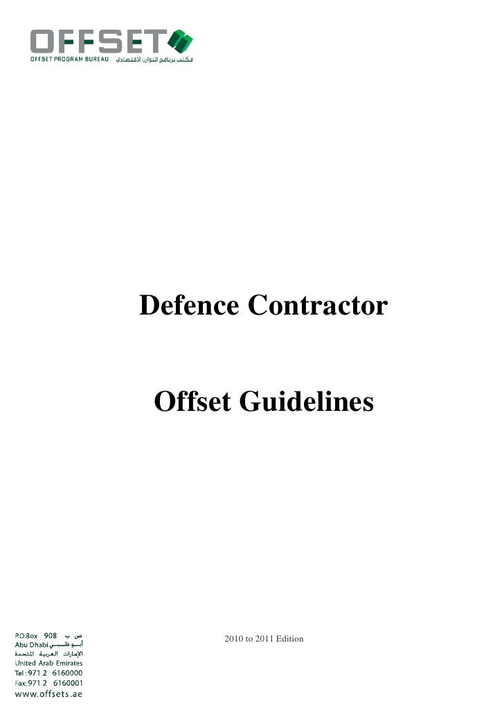 Defence Contractor Offset Guidelines      2010 to 2011 Edition