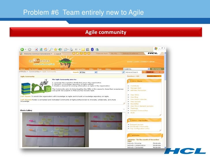 Problem #6 Team entirely new to Agile                     Agile community